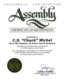 CD Michel - Certificate of Recognition from the California Legislature Assenbly