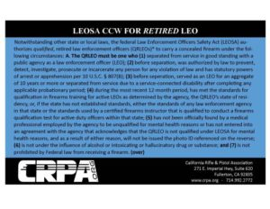 Retired CCW LEOSA Card